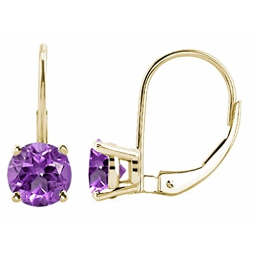 5MM Round Amethyst Leverback Earrings In 14K Yellow (14k Amethyst Dangle Earrings)
