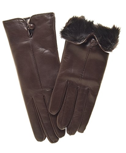 Fratelli Orsini Women's Italian Rabbit Fur Lined Gloves with Button Size 7 1/2 Color Brown
