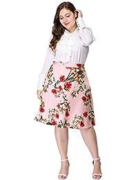 Agnes Orinda Women's Plus Size High Waisted A Line Full Floral Skirt