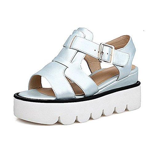 AgooLar Women's Open Toe Buckle PU Solid Kitten-Heels Sandals Blue