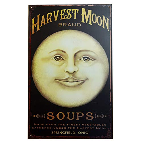PEI's Retro Vintage Tin Sign, Harvest Moon Soups, Home Man Woman Cave Garage Diner Bar Wall Decor, 10