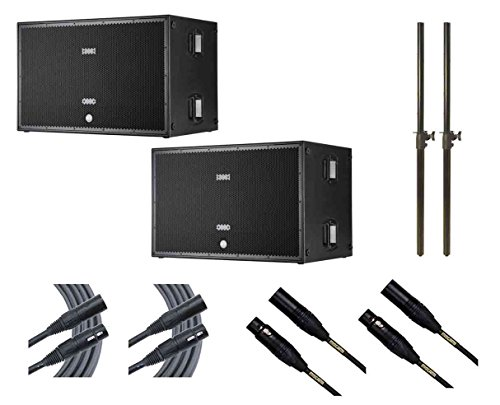 2x RCF SUB 8006-AS + Subwoofer Poles + Mogami Cables by RCF
