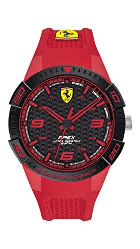 Ferrari Men's Quartz Watch with Silicone Strap, Red, 18 (Model: 830748)