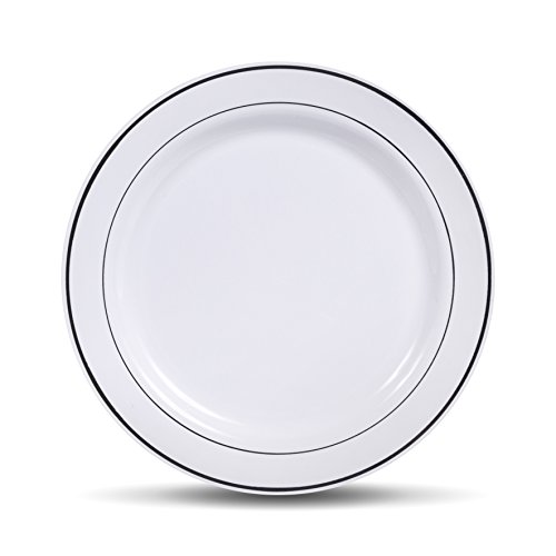 Salad Appetizer - Select Settings [50 COUNT] Salad/Dessert Disposable Plastic Plates, White with Silver Rim 7.5-Inch