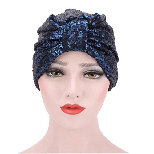 Headgear Cap Denim (Women Flowers Hat Chemo Cap Head Wrap Trend Headgear Muranba (Navy, Free))