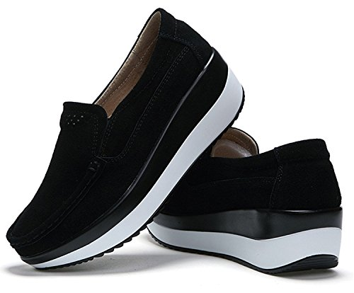Out Black On Platform Walking DADAWEN Fitness Toning Slip Work Women's Shoes Trainers wYCwfqPgn