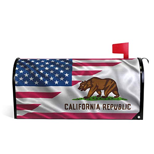 XINXIANDFD Flag of USA and California State Magnetic Mailbox Cover MailWraps, Bear Republic Mailbox Wraps Post Box Garden Yard Home Decor for Outside Standard Size 21(L) x18(W)