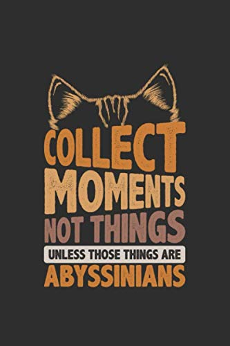Collect Moments Not Things Unless Those Things Are Abyssinians: Gifts for cat lovers 100 page Blank lined 6 x 9 journal to jot down your ideas and notes