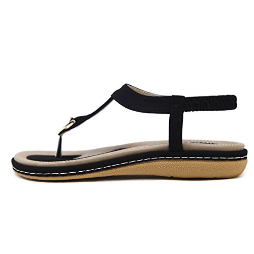 e3b40c63601 DolphinGirl Bohemian Simple T-Strap Summer Vacation Flat Thong Sandals