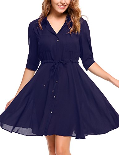 Chiffon Belted Dress - 5