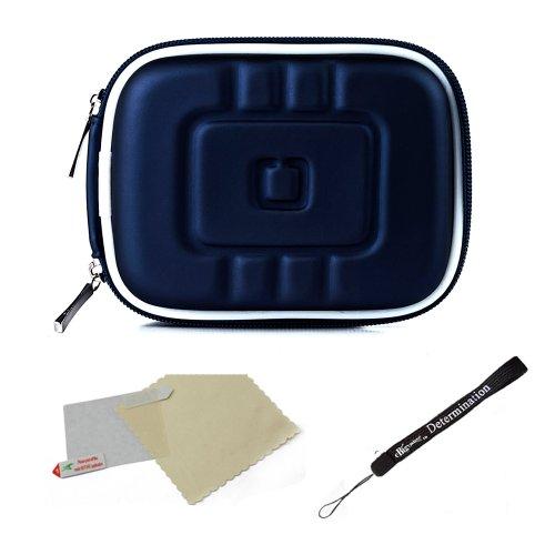 Blue Eva Mini Hardshell Lightweight Compact Case For Panasonic Lumix F FH LX SZ TS XS ZS Compact Camera + Screen Protector + Mini Tripod