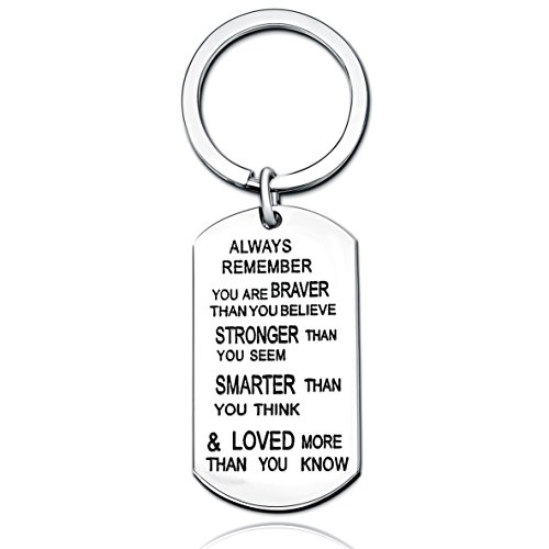 Stainless Steel Key Chain Ring You are Braver Stronger Smarter Than You Think Pendant Family Friend Gift (Stainless -