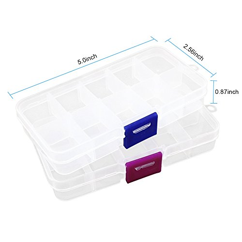- Co-link 2pcs Plastic Jewelry fishing hook Small Accessories Organizer 10 Adjustable clearly Storage box