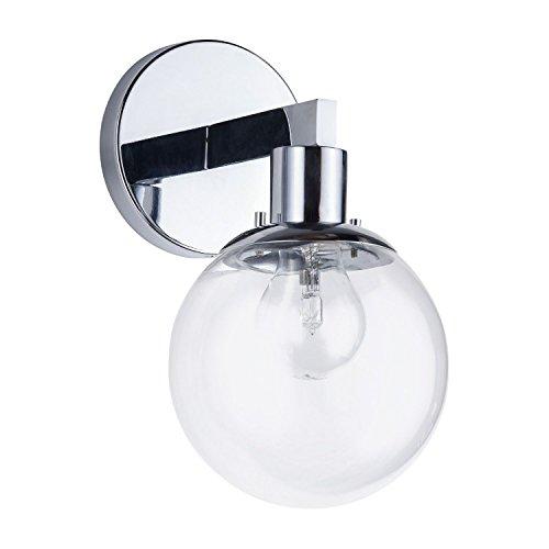 Contemporary Schoolhouse Globe Glass - Sferra LED Industrial Wall Sconce – Chrome w/Clear Glass Globe – Linea di Liara LL-SC225-PC