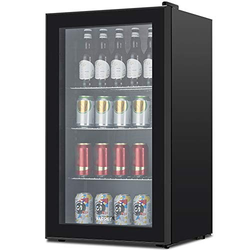 - KUPPET 120-Can Beverage Cooler and Refrigerator, Small Mini Fridge for Home, Office or Bar with Glass Door and Adjustable Removable Shelves, Perfect for Soda Beer or Wine, Black, 3.1 Cu.Ft