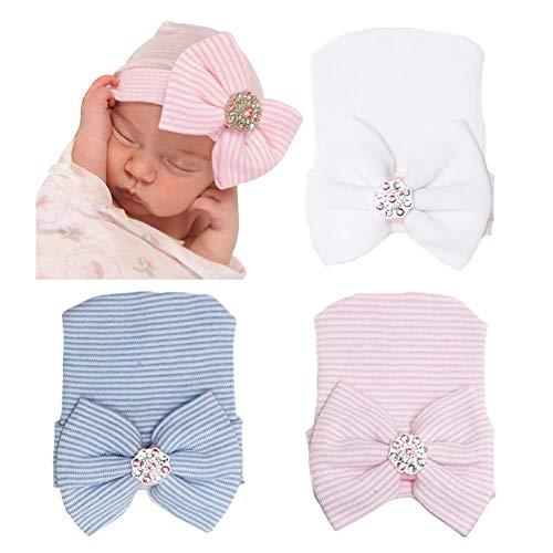 DRESHOW BQUBO Newborn Hospital Hat Infant Baby Hat Cap with Big Bow Soft Cute Knot Nursery Beanie -