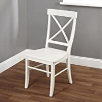 Rubber Wood Chair, Crossback Design, Antique White