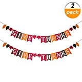 2 Pack Give Thanks Nonwoven Banner for Thanksgiving Day Home Party Office Decoration Give Thanks Bunting