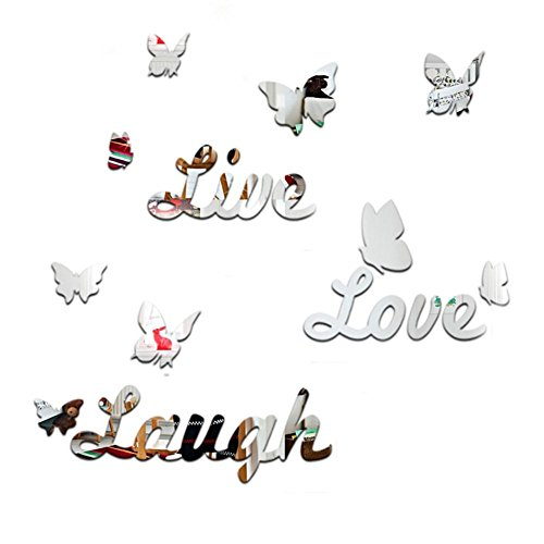 - Whitelotous Butterfly English Letters Mirror Wall Stickers Decorative Home Wall Decor