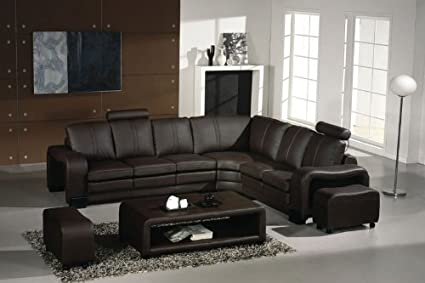 Incroyable 3330 Espresso Italian Leather Sectional Sofa Set