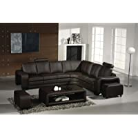 3330 Espresso Italian Leather Sectional Sofa Set