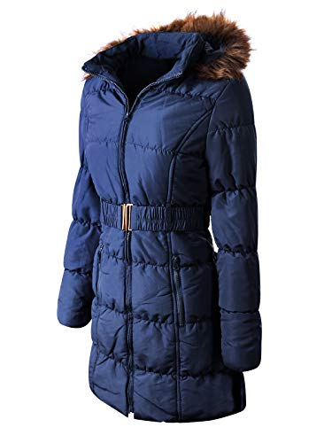 (Instar Mode Women's Casual Lightweight Fur Lining Hooded Quilted Zip Up Coat with Waist Belt,Ijkw062 Navy Blue,Large)