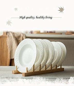 耐久性の健康な木製皿プレート棚排水ラック6サブグリッドアクセサリー収納