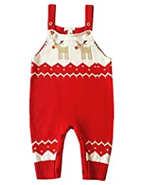 BESTERY Baby Shoulder Strap Romper Christmas Deer Jumper Knitted Sweater Best Gift