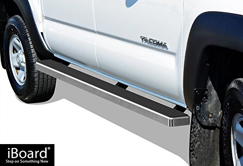 APS iBoard Running Boards (Nerf Bars | Side Steps | Step Bars) for 2005-2019 Toyota Tacoma Double/Crew Cab Pickup 4-Door | (Silver 5 inches)