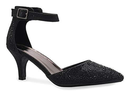 - OLIVIA K Women's Sexy Glitter Rhinestone D'Orsay Ankle Strap Pointed Toe Low Heel Pump - Comfortable, Classic