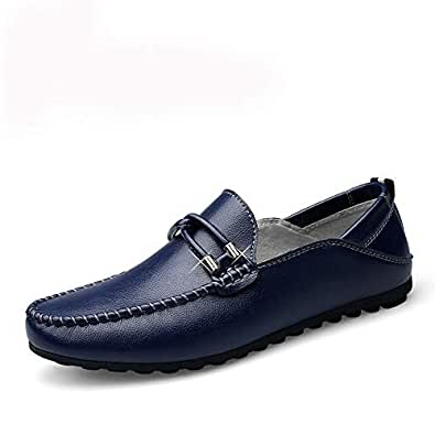 Lvjuzhuangshiaus Men's Driving Loafers Slip-on Style OX Leather Moccasins Fashion Bowknot Metal Decor Boat Shoes Pure Colors Round Toe (Color : Blue, Size : 5 UK)