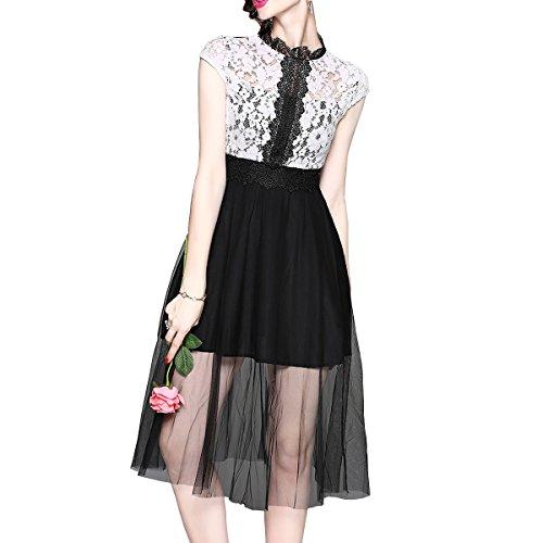 girl E Midi Weiß Reine Damen Kurzarm Linie Partykleid A YL07518 Cocktailkleid Spitze Kleider Kleid Hohl dqr4qg