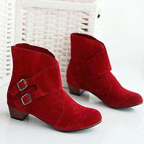 Mode Pour Classiques Rond Talons Carrs Bout Boucles Rouges Kobay La Bottines Chaussures Bottes Dames Martin qX8wxO1