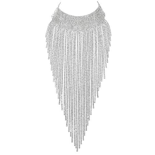 - Flyonce Women Crystal Stunning Tassel Collar Luxury Statement Necklace for Banquet, Prom ... Clear Silver-Tone