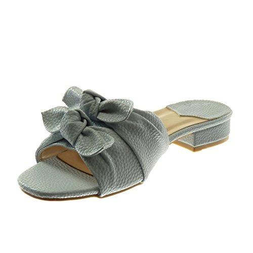 Angkorly Damen Schuhe Sandalen Mule - Slip-On - Knoten - genarbtem Blockabsatz 3 cm Blau