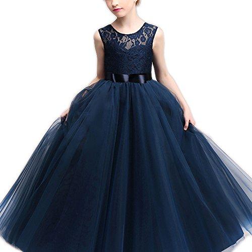 NNJXD Girl Sleeveless Lace Flower Party Tutu Princess Tulle Dress Size (120) 4-5 Years Dark Blue
