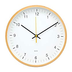 COMODO CASA Products Wooden Wall Clock,Glass Cover,Silent Non-Ticking- 10 Inch Quality,Modern Design,Big Numbers,Nature Farm (Nature#1)
