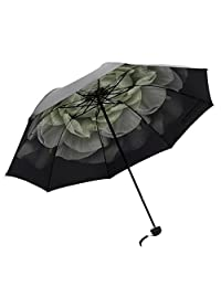 Honeystore Black Vinyl Beach Parasol Triple Fold Travel Sun-rain Daisy Umbrella Gardenia