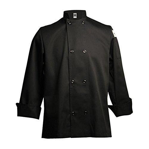 Chef Revival J061 24/7 Poly Cotton Blend Long Sleeve Unisex Cool Crew Jacket with Black Pearl Bottons, Large, Black (Chef Clothing Revival)