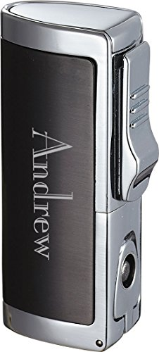 Personalized Visol Aleus Gunmetal Triple Jet Cigar Lighter with Built-in Punch - Free Engraving (Text)