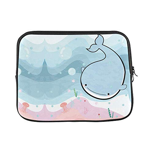 InterestPrint Funny Comic Sea Whale and Jelly Fish in The Ocean 13 13.3 Inch Waterproof Neoprene Laptop Notebook Sleeve Bag for MacBook, MacBook Air/Pro Dell HP Thinkpad Acer Tablet Woman Man