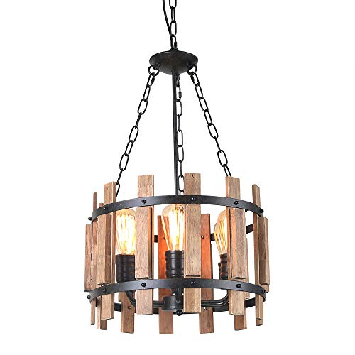 Anmytek Wood Metal Chandelier Orb Pendant Light, Rustic Industrial Edison Hanging Light Dining Room Vintage Ceiling Light Fixture 6 Lights, Brown C0048