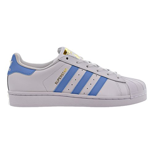 Synthetic Blue Star (adidas Originals Women's Superstar Shoes Running, White/Columbia Blue/Metallic/Gold, (7 M US))