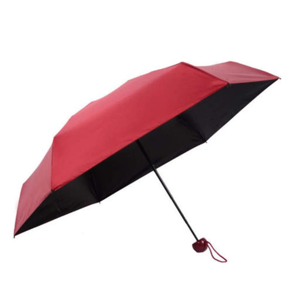 QIUUE Mini Pocket Compact Umbrella Sun Anti UV 5 Folding Rain Windproof Umbrella with Capsule Case Shell (Wine Red) by QIUUE