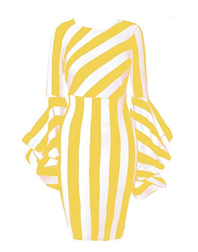 Stripe Silk Skirt (Dress for Women with Yellow and White Stripe Round Neck Long Sleeve Dress Work Daily wear Elegant Soft Pencil Loose fit Dress (Yellow 2XL))