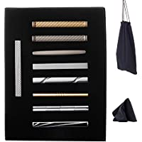 WEWINK PLUS 9 Pcs Tie Clips Set for Men Tie Bar Clasp Pinch Set for Regular Ties Wedding Business with Gift Box