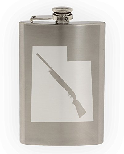 State of Utah with Shotgun Cutout Etched 8oz Stainless Steel Flask