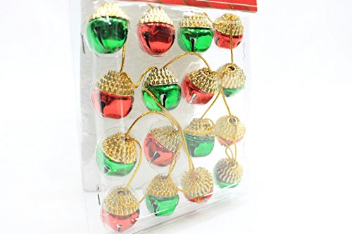 (Pack of 2) 16 Christmas House Ornament Acorn Shaped Decorative Jingle Bells (Red & Green) by Christmas House (Image #2)