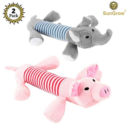 SunGrow 2 Plush Squeaky Puppy Toys - Dynamic Due Peppy The Pig Elo The Elephant Your Small Dog - Chewable Soft - Helps Maintain Healthy Teeth Gums - Satisfies Their Chewing Instinct (Orka Chew)