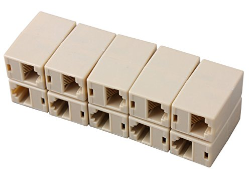 Sunwin High Quality RJ45 modular CAT 5 5E Extender Plug Network Female to Female straight Coupler Ethernet Lan Cable Joiner Connector Adapter 10PCS ()